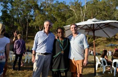 CAPDA representative Tony Stimson, Tanzanian Honorary Consul Sossy Msomi, and Music for Moshi organiser Nick Van Den Brink